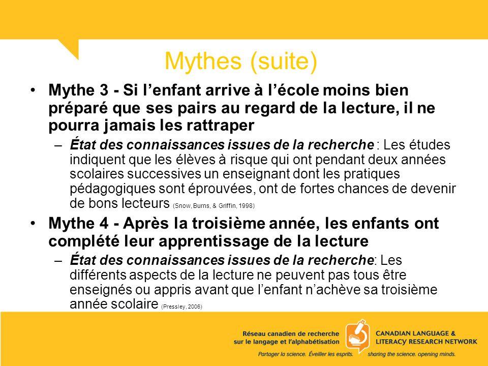 Mythes (suite) Mythe 3 - Si lenfant arrive à lécole moins bien préparé que ses pairs au regard de la lecture, il ne pourra jamais les rattraper –État