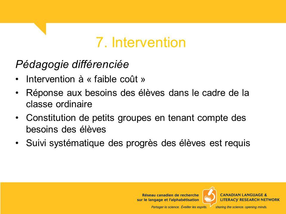 7. Intervention Pédagogie différenciée Intervention à « faible coût » Réponse aux besoins des élèves dans le cadre de la classe ordinaire Constitution