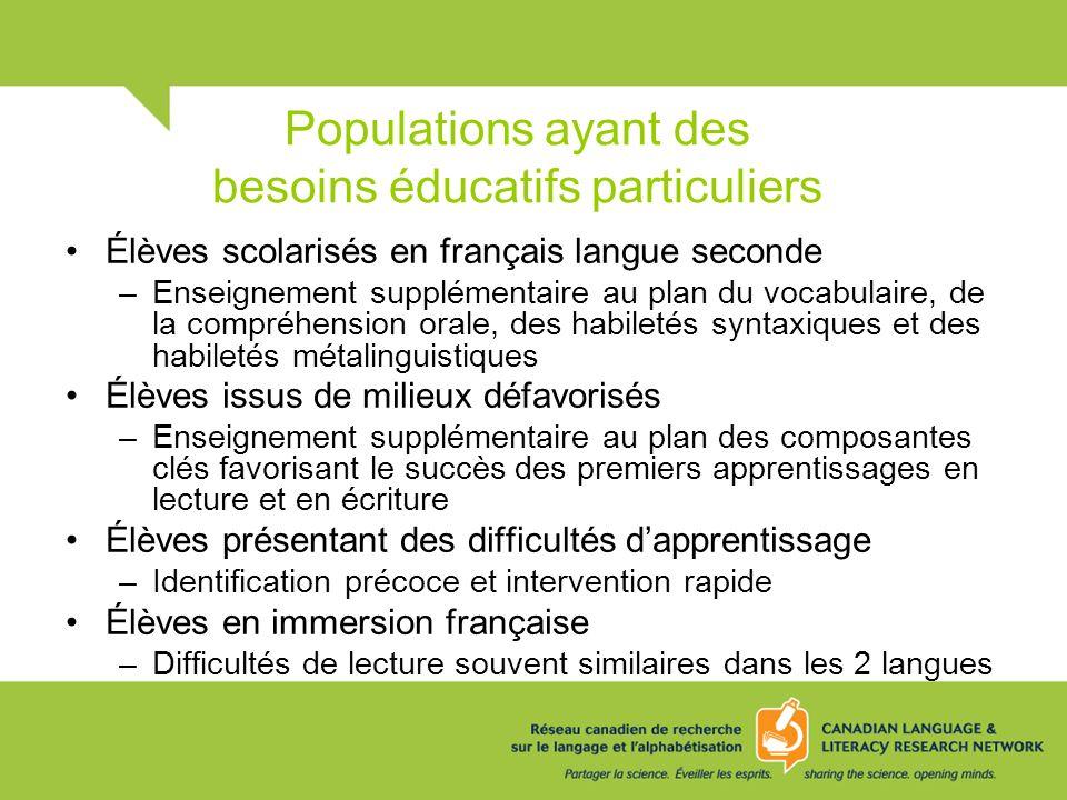 Populations ayant des besoins éducatifs particuliers Élèves scolarisés en français langue seconde –Enseignement supplémentaire au plan du vocabulaire,