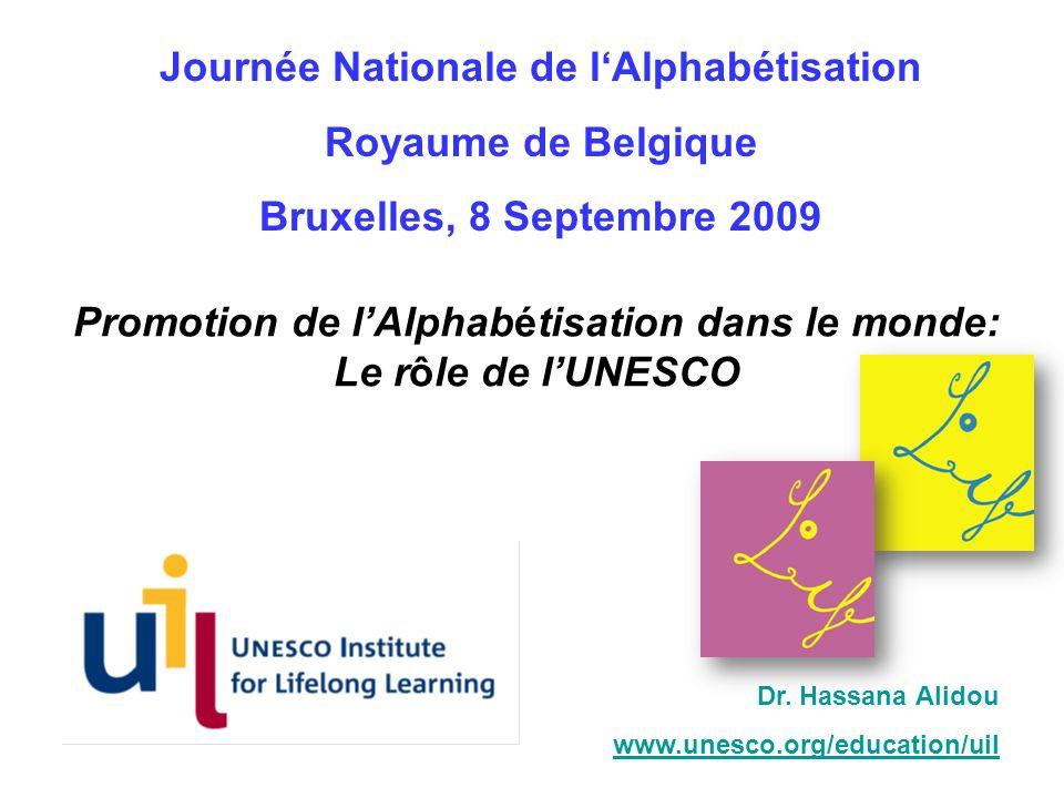 Promotion de lAlphabétisation dans le monde: Le rôle de lUNESCO Dr. Hassana Alidou www.unesco.org/education/uil Journée Nationale de lAlphabétisation
