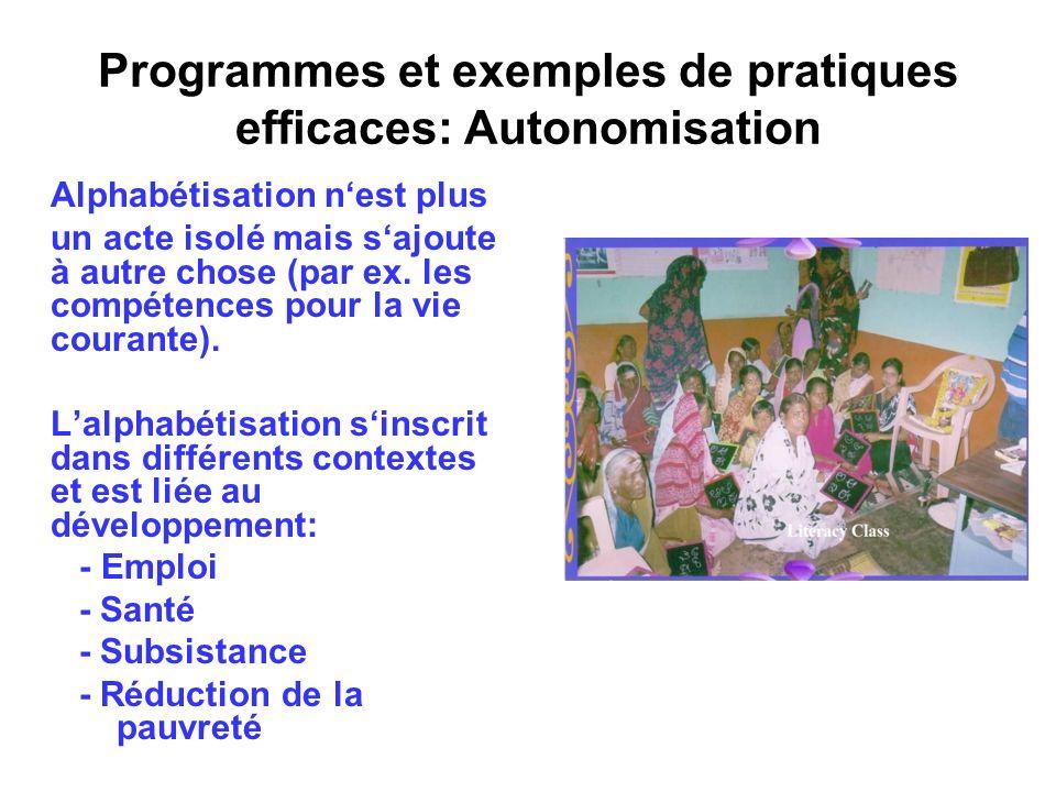 Programmes et exemples de pratiques efficaces: Autonomisation Alphabétisation nest plus un acte isolé mais sajoute à autre chose (par ex. les compéten