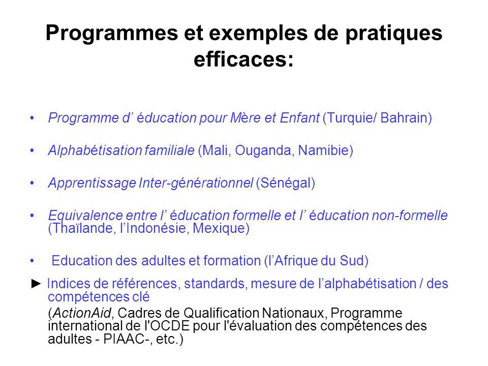 Programmes et exemples de pratiques efficaces: Programme d éducation pour Mère et Enfant (Turquie/ Bahrain) Alphabétisation familiale (Mali, Ouganda,