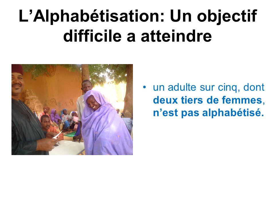 LAlphabétisation: Un objectif difficile a atteindre un adulte sur cinq, dont deux tiers de femmes, nest pas alphabétisé.