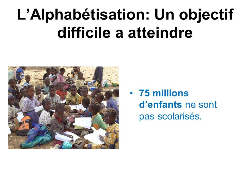 LAlphabétisation: Un objectif difficile a atteindre 75 millions denfants ne sont pas scolarisés.