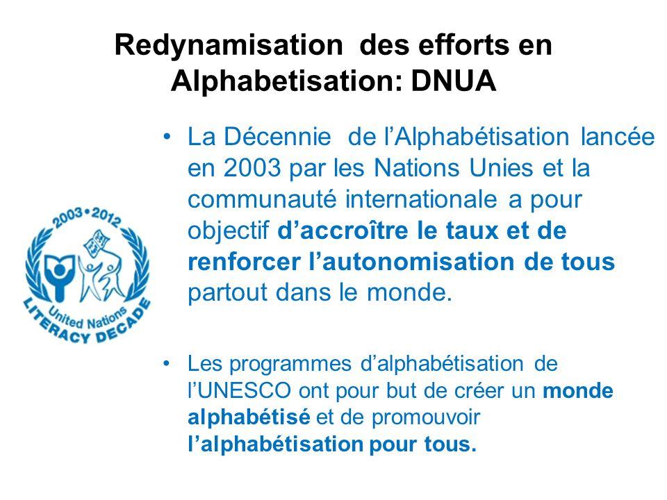 Redynamisation des efforts en Alphabetisation: DNUA La Décennie de lAlphabétisation lancée en 2003 par les Nations Unies et la communauté internationa