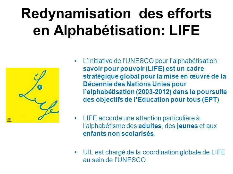 Redynamisation des efforts en Alphabétisation: LIFE LInitiative de lUNESCO pour lalphabétisation : savoir pour pouvoir (LIFE) est un cadre stratégique