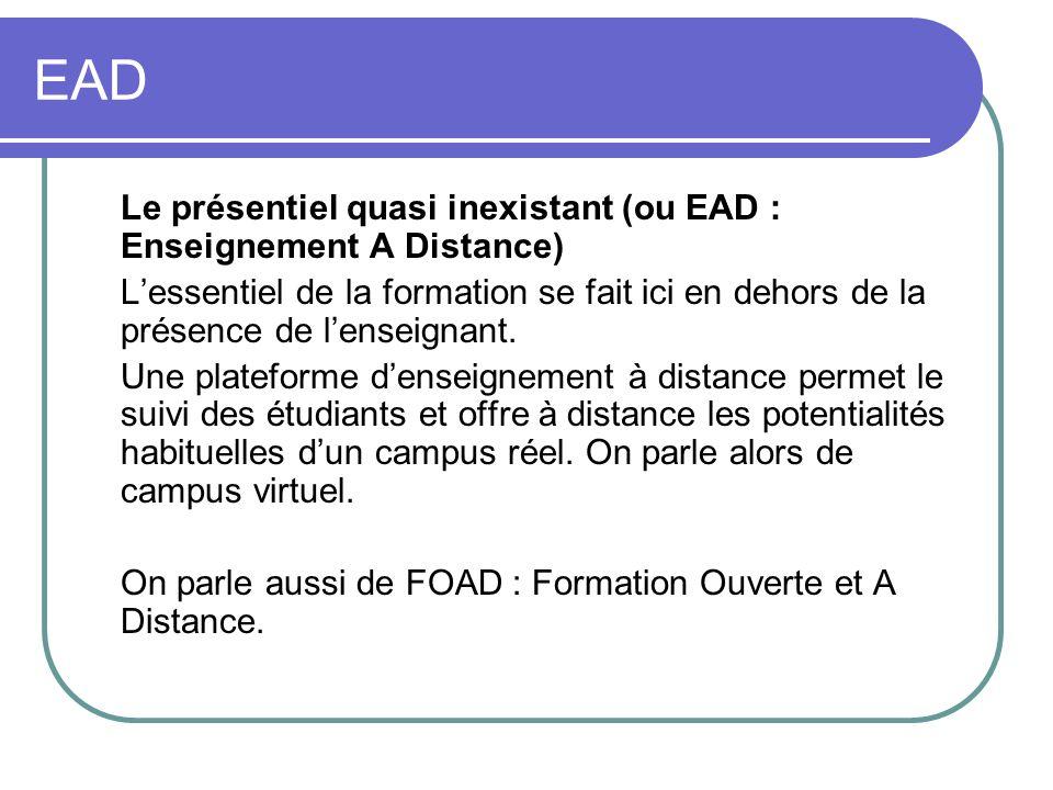 EAD Le présentiel quasi inexistant (ou EAD : Enseignement A Distance) Lessentiel de la formation se fait ici en dehors de la présence de lenseignant.