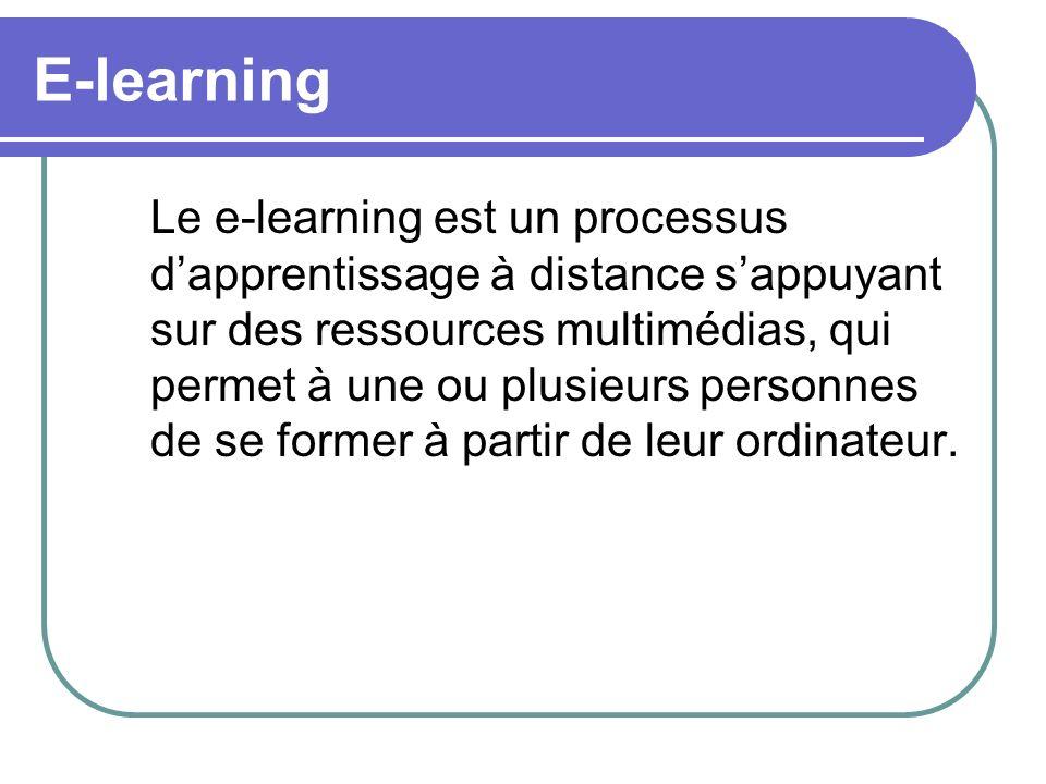 E-learning Le e-learning est un processus dapprentissage à distance sappuyant sur des ressources multimédias, qui permet à une ou plusieurs personnes
