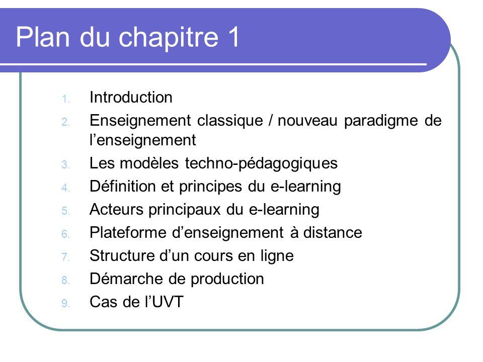 Plan du chapitre 1 1. Introduction 2. Enseignement classique / nouveau paradigme de lenseignement 3. Les modèles techno-pédagogiques 4. Définition et