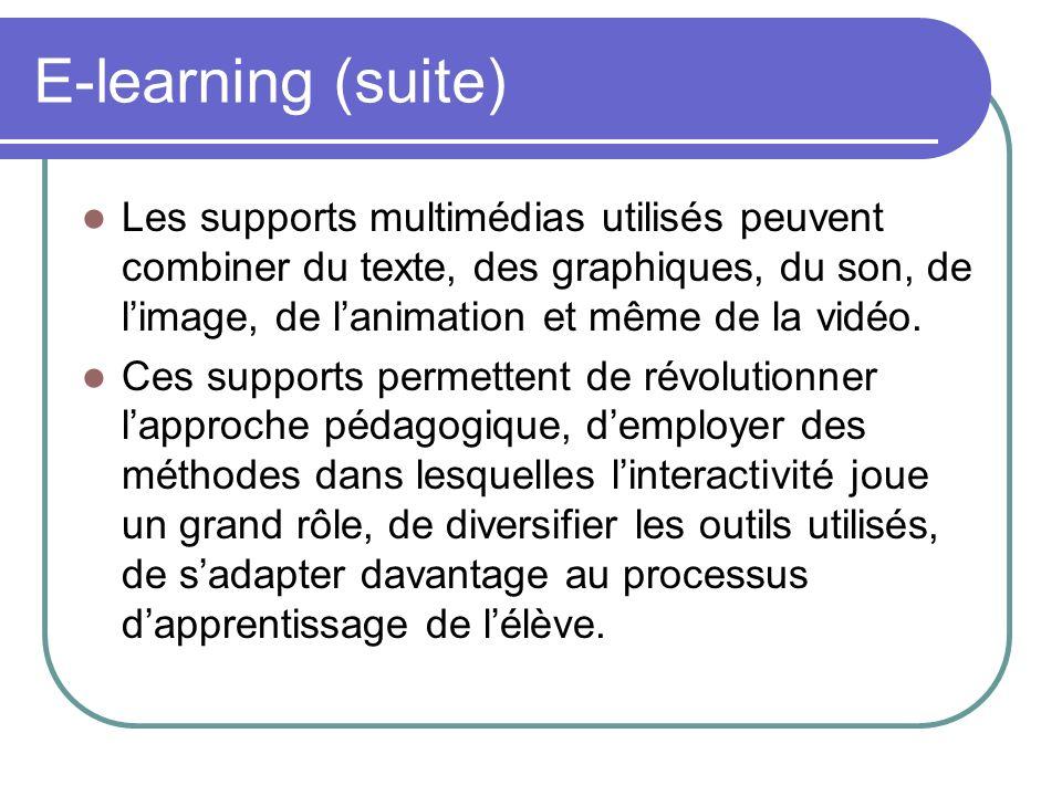 E-learning (suite) Les supports multimédias utilisés peuvent combiner du texte, des graphiques, du son, de limage, de lanimation et même de la vidéo.