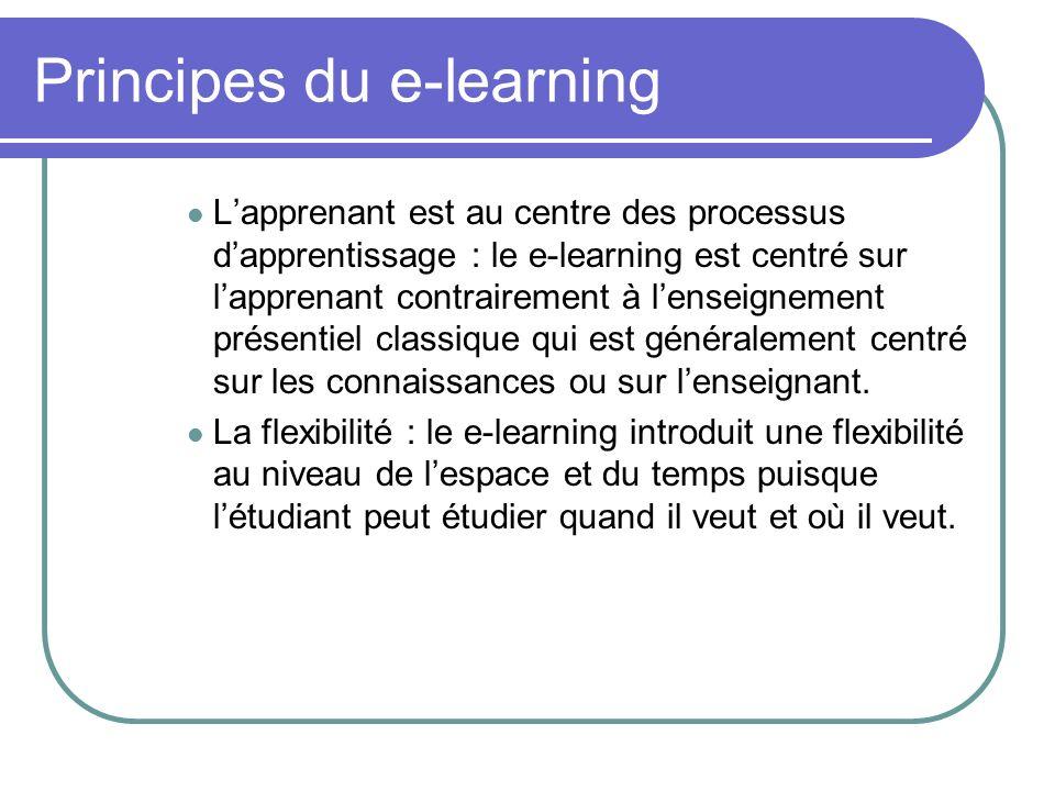 Principes du e-learning Lapprenant est au centre des processus dapprentissage : le e-learning est centré sur lapprenant contrairement à lenseignement