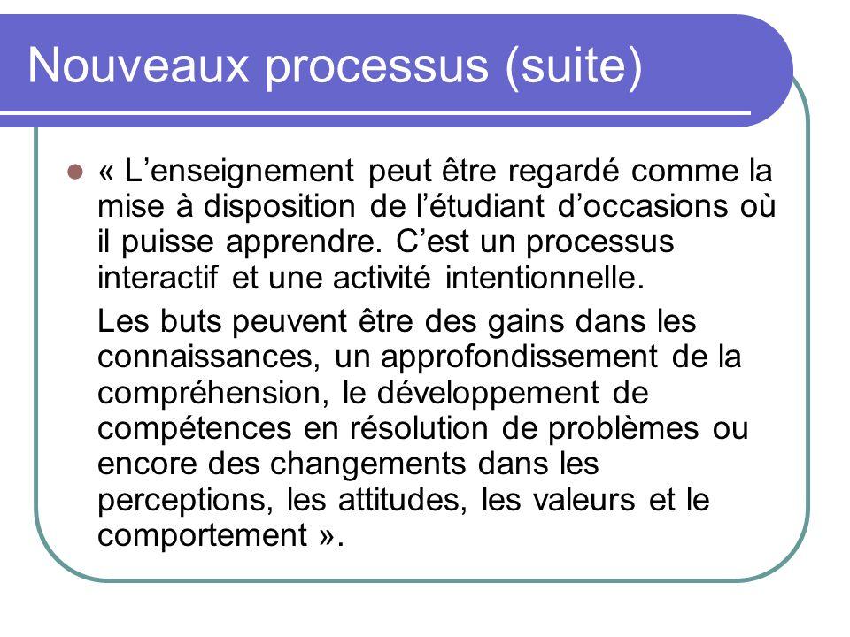 Nouveaux processus (suite) « Lenseignement peut être regardé comme la mise à disposition de létudiant doccasions où il puisse apprendre. Cest un proce