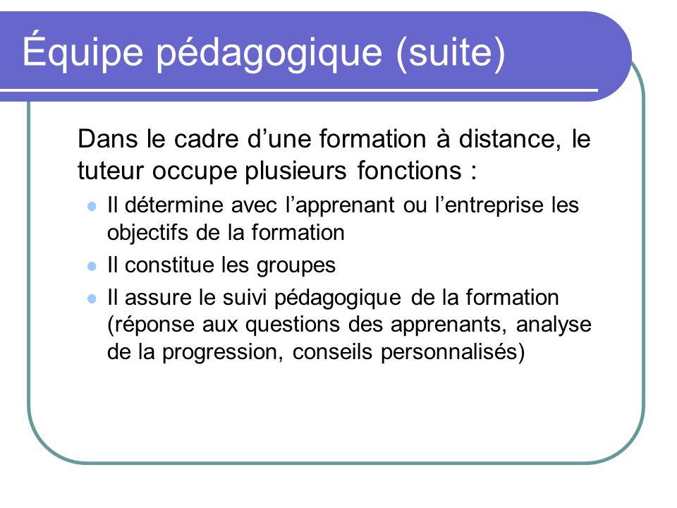 Équipe pédagogique (suite) Dans le cadre dune formation à distance, le tuteur occupe plusieurs fonctions : Il détermine avec lapprenant ou lentreprise