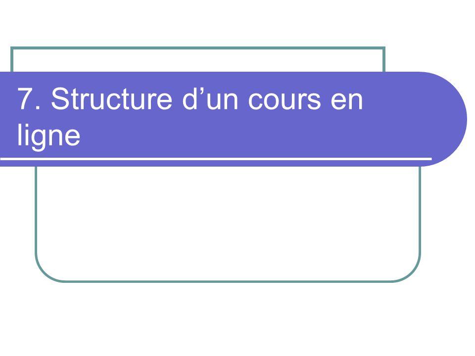 7. Structure dun cours en ligne