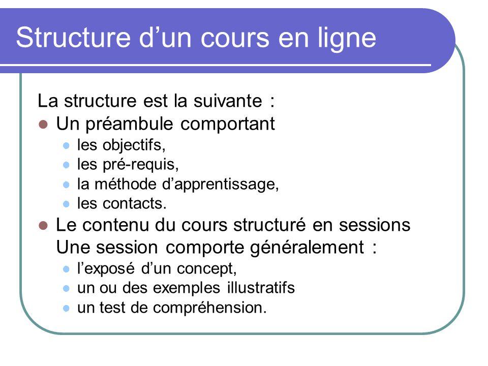 Structure dun cours en ligne La structure est la suivante : Un préambule comportant les objectifs, les pré-requis, la méthode dapprentissage, les cont