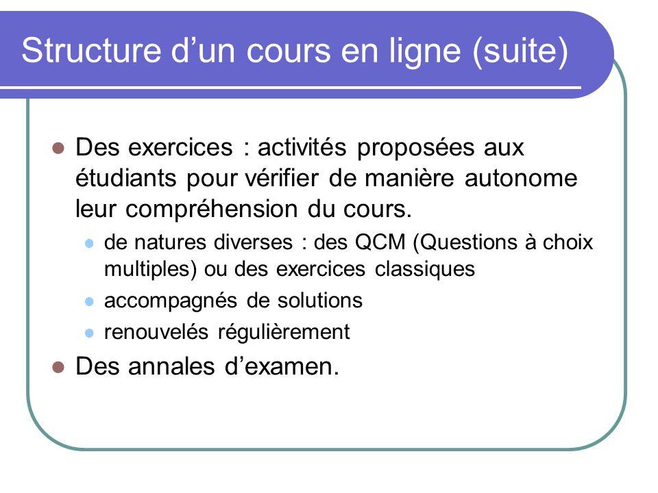 Structure dun cours en ligne (suite) Des exercices : activités proposées aux étudiants pour vérifier de manière autonome leur compréhension du cours.