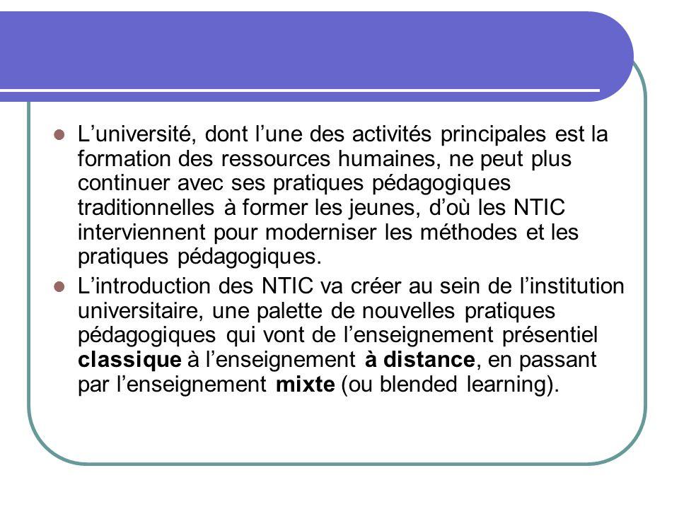 Luniversité, dont lune des activités principales est la formation des ressources humaines, ne peut plus continuer avec ses pratiques pédagogiques trad