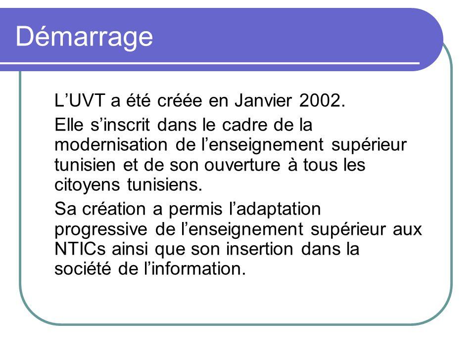 Démarrage LUVT a été créée en Janvier 2002. Elle sinscrit dans le cadre de la modernisation de lenseignement supérieur tunisien et de son ouverture à