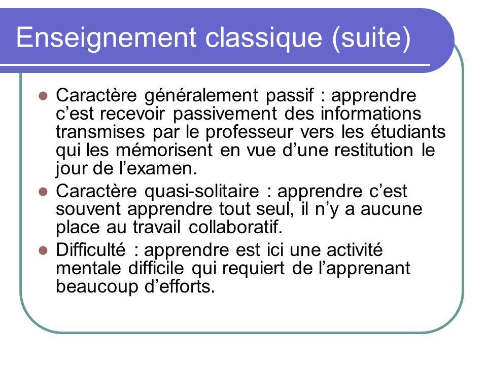 Enseignement classique (suite) Caractère généralement passif : apprendre cest recevoir passivement des informations transmises par le professeur vers