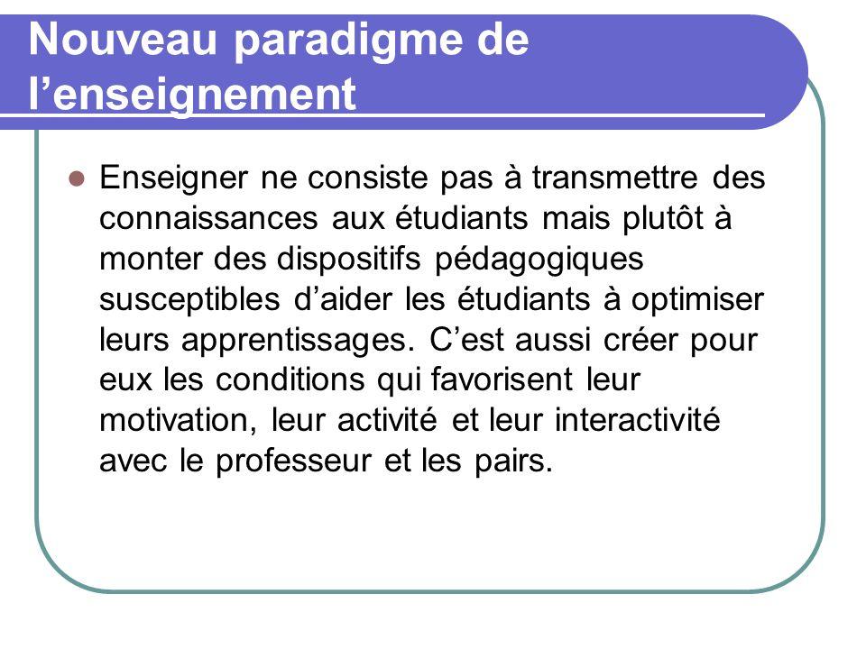 Nouveau paradigme de lenseignement (suite) Le nouveau paradigme de lenseignement a les caractéristiques suivantes : Apprendre est un processus naturel : apprendre est une activité naturelle à la portée de nimporte quel étudiant.