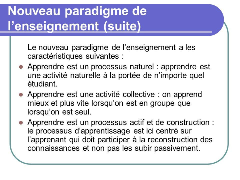 Nouveau paradigme de lenseignement (suite) Le nouveau paradigme de lenseignement a les caractéristiques suivantes : Apprendre est un processus naturel