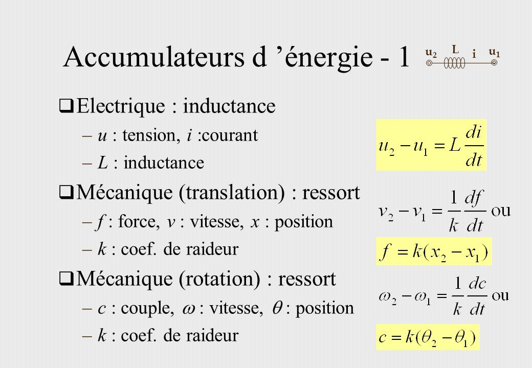 Accumulateurs d énergie - 1 Electrique : inductance –u : tension, i :courant –L : inductance Mécanique (translation) : ressort –f : force, v : vitesse