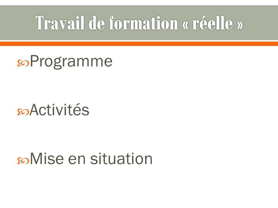 Programme Activités Mise en situation