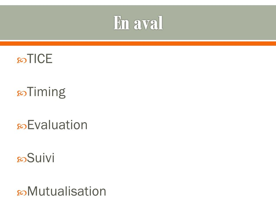 TICE Timing Evaluation Suivi Mutualisation
