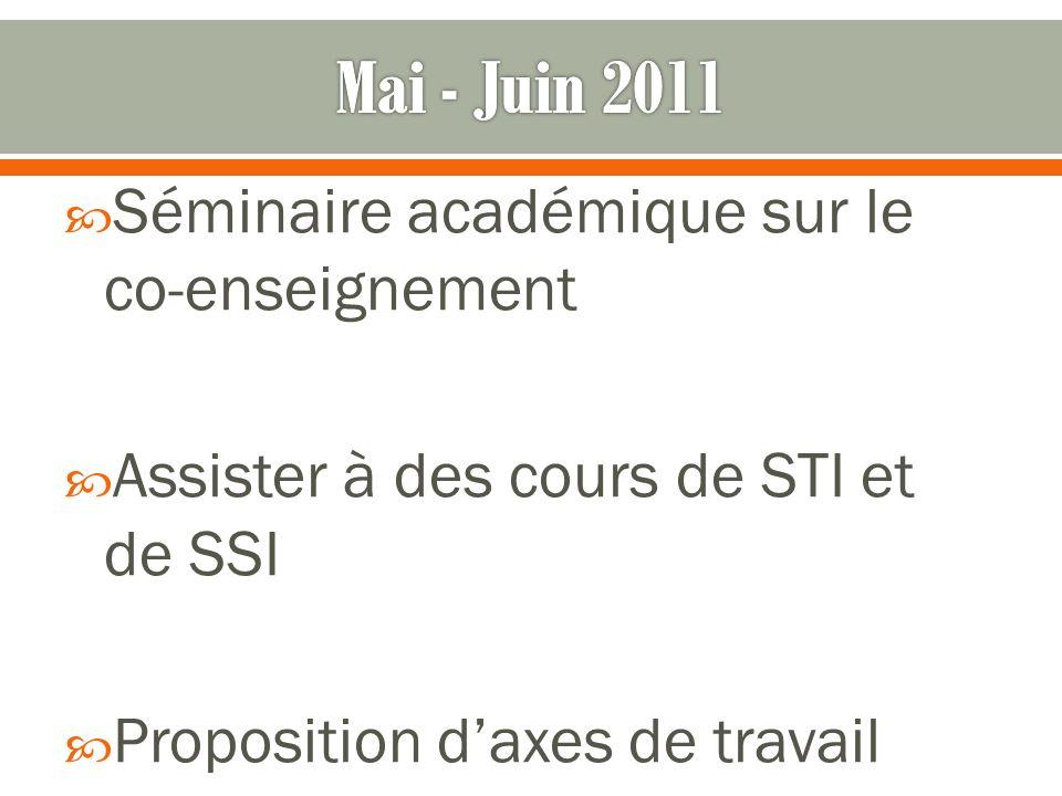 Séminaire académique sur le co-enseignement Assister à des cours de STI et de SSI Proposition daxes de travail