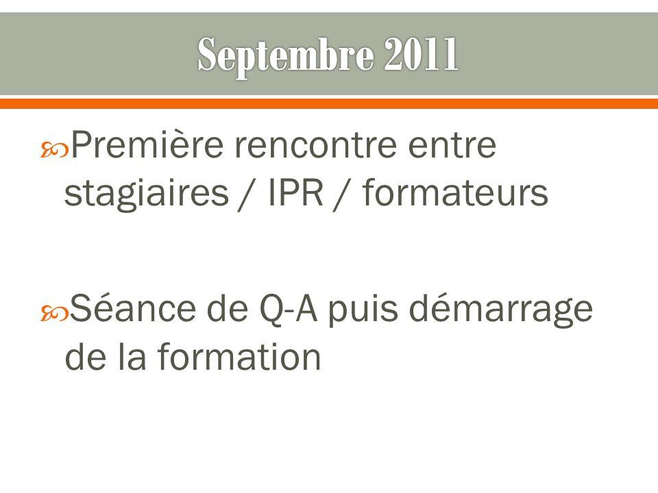 Première rencontre entre stagiaires / IPR / formateurs Séance de Q-A puis démarrage de la formation