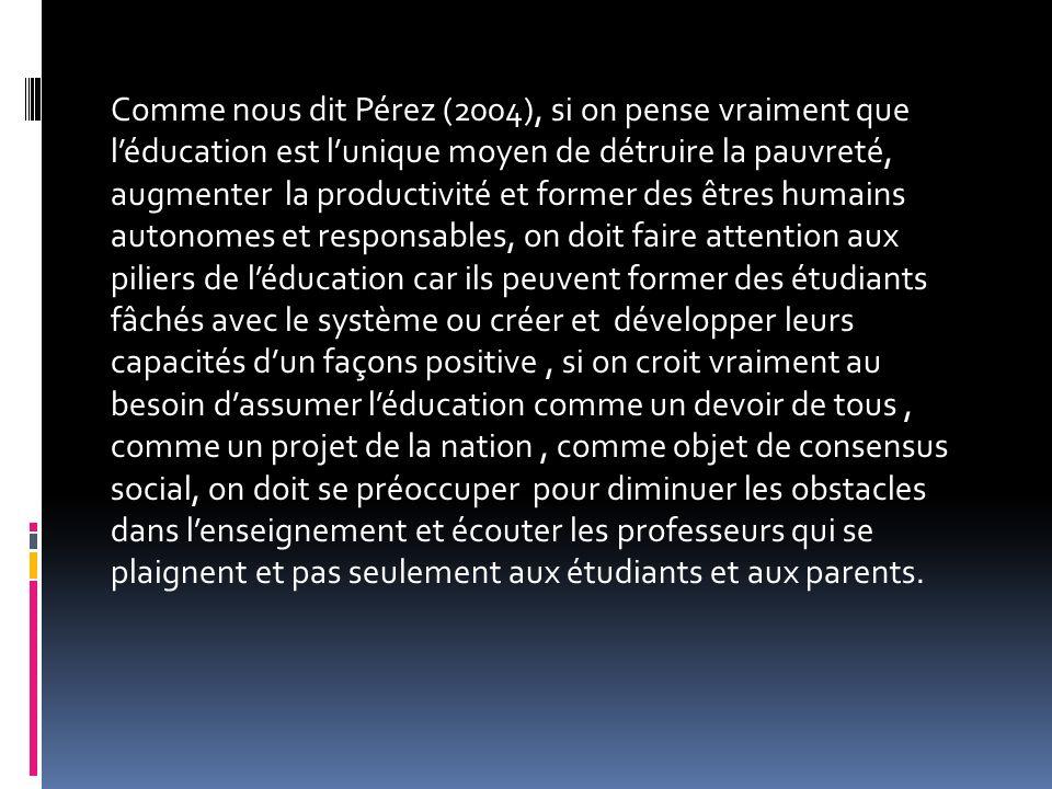 Comme nous dit Pérez (2004), si on pense vraiment que léducation est lunique moyen de détruire la pauvreté, augmenter la productivité et former des êt