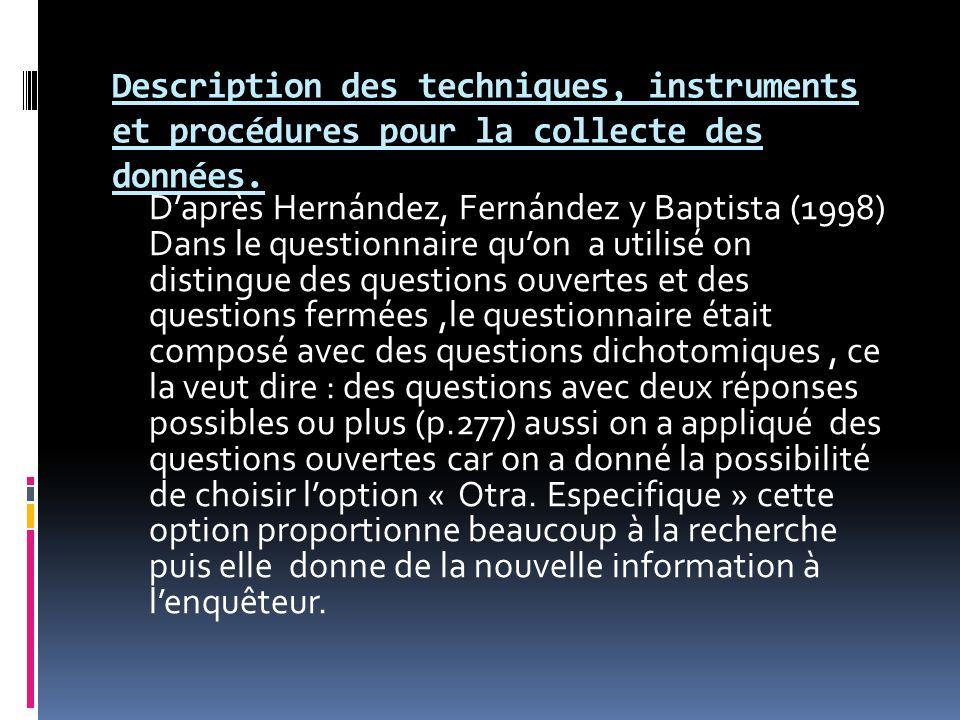 Description des techniques, instruments et procédures pour la collecte des données. Daprès Hernández, Fernández y Baptista (1998) Dans le questionnair