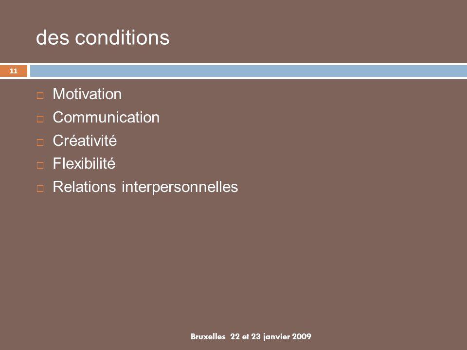 Motivation Communication Créativité Flexibilité Relations interpersonnelles 11 Bruxelles 22 et 23 janvier 2009 des conditions