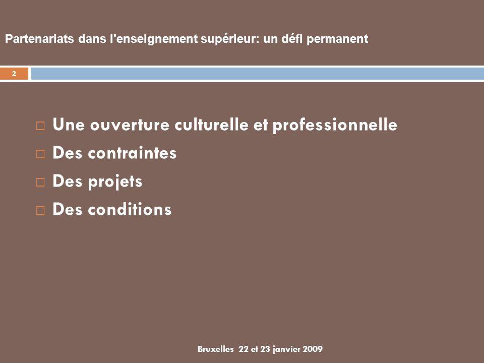 Partenariats dans l enseignement supérieur: un défi permanent Une ouverture culturelle et professionnelle Des contraintes Des projets Des conditions 2 Bruxelles 22 et 23 janvier 2009