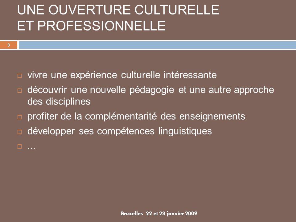 UNE OUVERTURE CULTURELLE ET PROFESSIONNELLE vivre une expérience culturelle intéressante découvrir une nouvelle pédagogie et une autre approche des disciplines profiter de la complémentarité des enseignements développer ses compétences linguistiques...