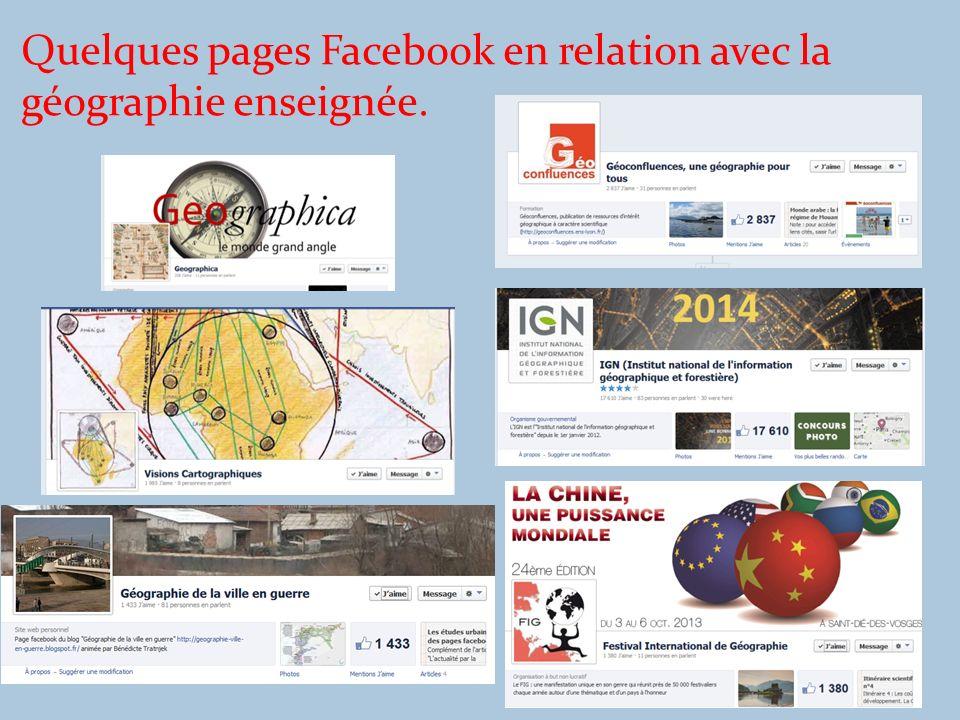 Quelques pages Facebook en relation avec la géographie enseignée.