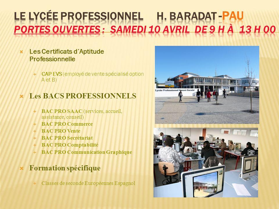 Les Certificats dAptitude Professionnelle CAP EVS (employé de vente spécialisé option A et B) Les BACS PROFESSIONNELS BAC PRO SAAC (services, accueil,