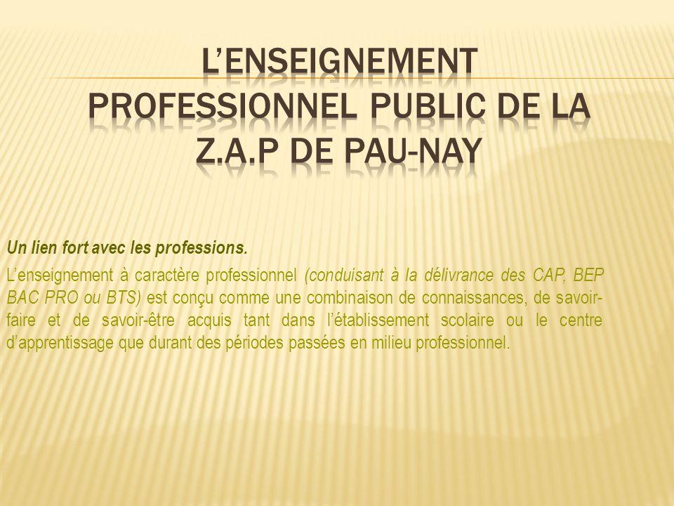 Un lien fort avec les professions. Lenseignement à caractère professionnel (conduisant à la délivrance des CAP, BEP BAC PRO ou BTS) est conçu comme un