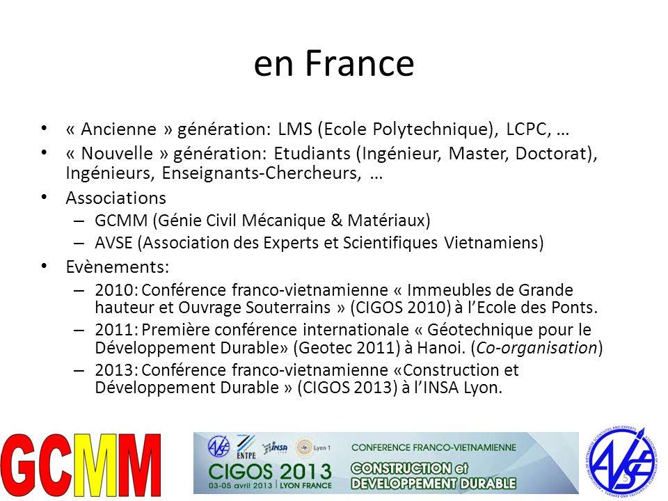 en France « Ancienne » génération: LMS (Ecole Polytechnique), LCPC, … « Nouvelle » génération: Etudiants (Ingénieur, Master, Doctorat), Ingénieurs, En