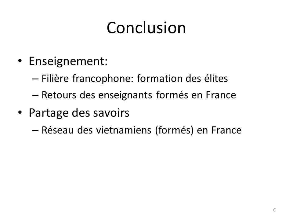 Conclusion Enseignement: – Filière francophone: formation des élites – Retours des enseignants formés en France Partage des savoirs – Réseau des vietn