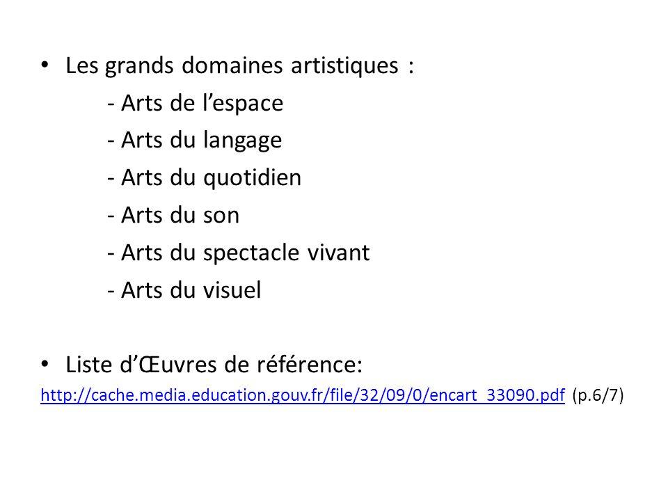 Les grands domaines artistiques : - Arts de lespace - Arts du langage - Arts du quotidien - Arts du son - Arts du spectacle vivant - Arts du visuel Li