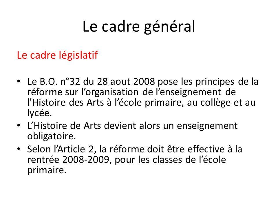 Le cadre général Le cadre législatif Le B.O. n°32 du 28 aout 2008 pose les principes de la réforme sur lorganisation de lenseignement de lHistoire des