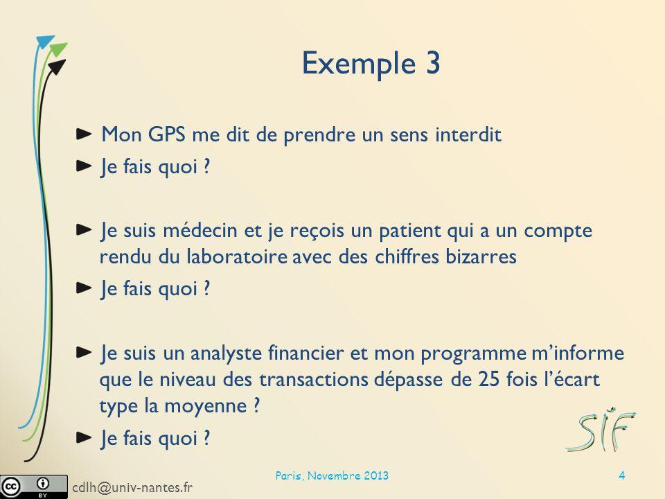 cdlh@univ-nantes.fr Exemple 3 Mon GPS me dit de prendre un sens interdit Je fais quoi .