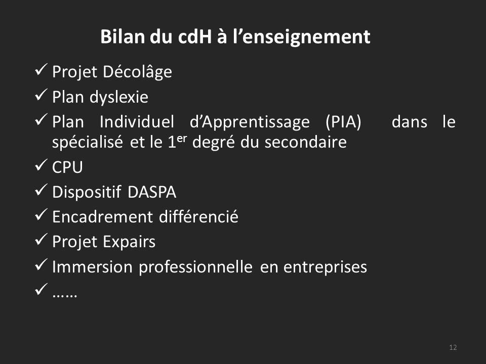 Bilan du cdH à lenseignement Projet Décolâge Plan dyslexie Plan Individuel dApprentissage (PIA) dans le spécialisé et le 1 er degré du secondaire CPU Dispositif DASPA Encadrement différencié Projet Expairs Immersion professionnelle en entreprises …… 12