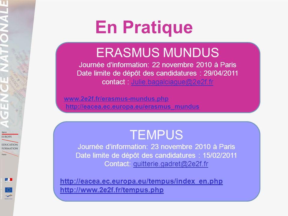 En Pratique TEMPUS Journée dinformation: 23 novembre 2010 à Paris Date limite de dépôt des candidatures : 15/02/2011 Contact: quitterie.gadret@2e2f.fr