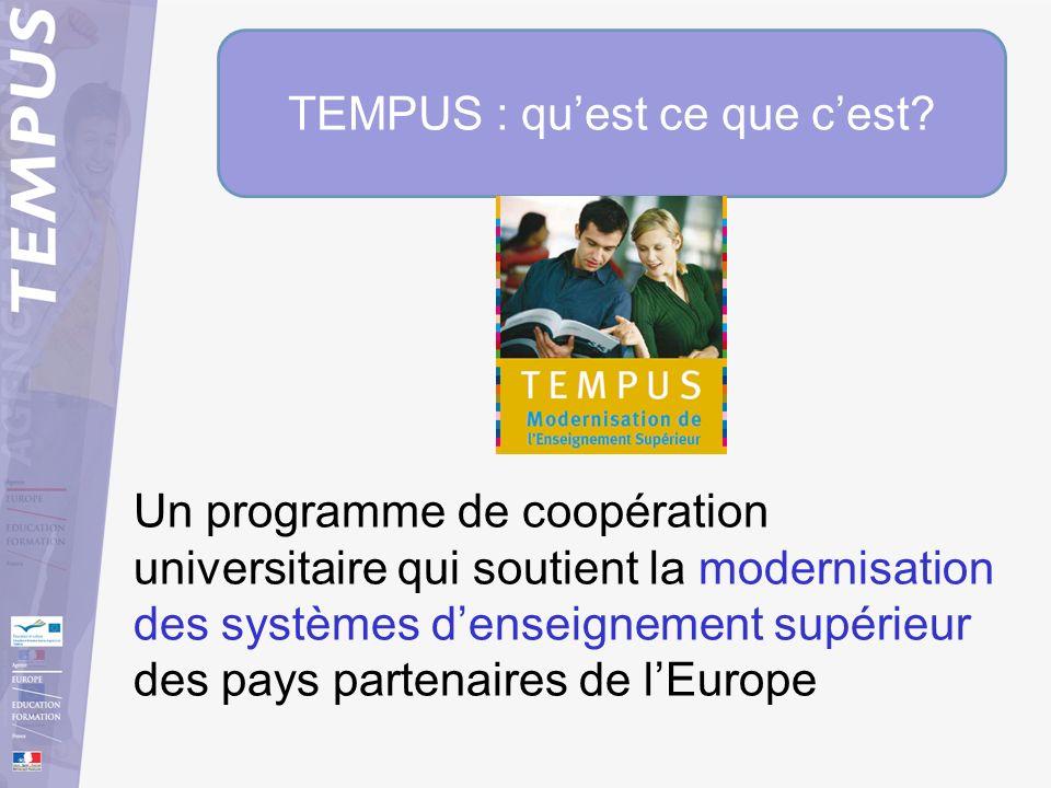 TEMPUS : quest ce que cest? Un programme de coopération universitaire qui soutient la modernisation des systèmes denseignement supérieur des pays part