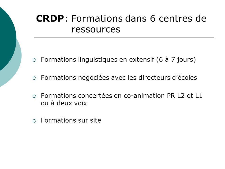 CRDP: Formations dans 6 centres de ressources Formations linguistiques en extensif (6 à 7 jours) Formations négociées avec les directeurs décoles Formations concertées en co-animation PR L2 et L1 ou à deux voix Formations sur site