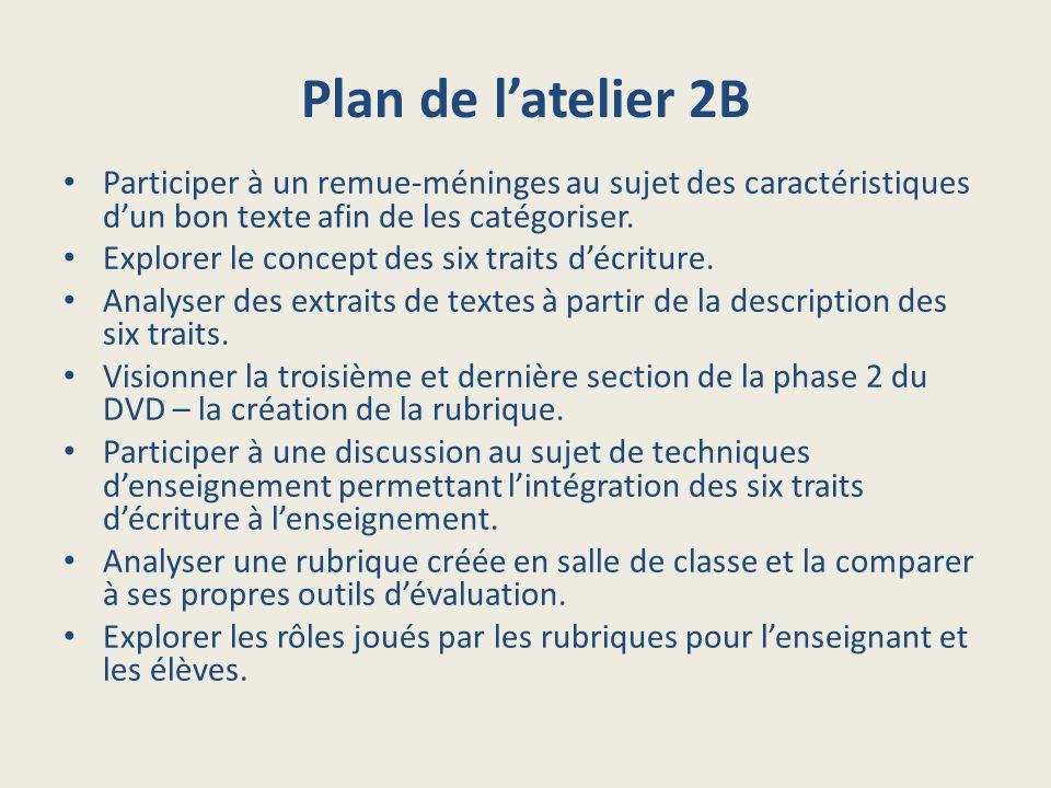 Plan de latelier 2B Participer à un remue-méninges au sujet des caractéristiques dun bon texte afin de les catégoriser. Explorer le concept des six tr
