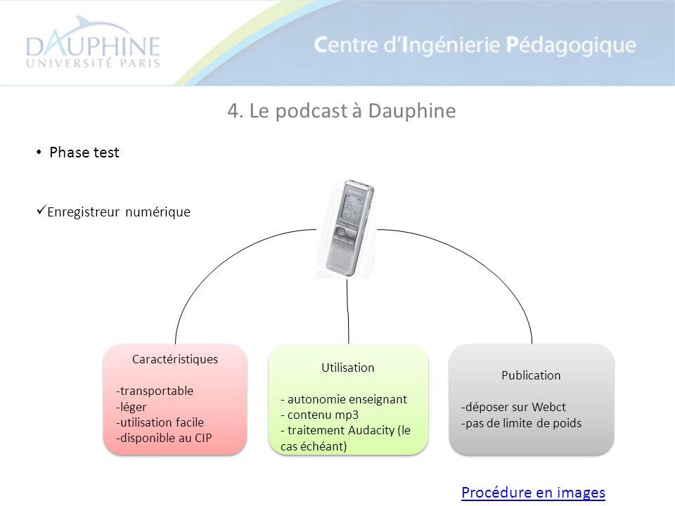 4. Le podcast à Dauphine Phase test Enregistreur numérique Caractéristiques -transportable -léger -utilisation facile -disponible au CIP Caractéristiq