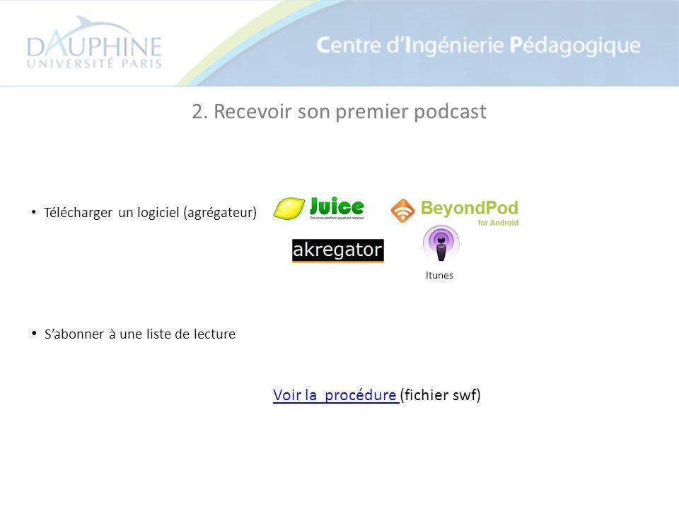 2. Recevoir son premier podcast Télécharger un logiciel (agrégateur) Sabonner à une liste de lecture Voir la procédure (fichier swf)Voir la procédure